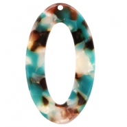 Resin Anhänger oval 49X29mm Turquoise-braun