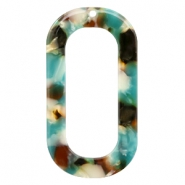 Resin Anhänger lang oval 56X30mm Turquoise-braun