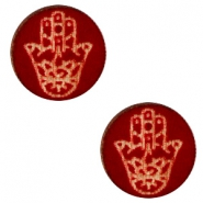 Holz Cabochon Hamsa Hand 12mm Dark red