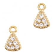 Basic quality Metall Strass Anhänger Triangle Gold