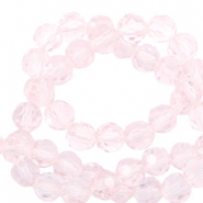 Top Glas Facett Perlen rund 4 mm Crystal light pink-pearl shine coating