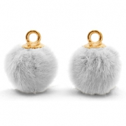 Pompom Anhänger mit Öse faux fur 12mm Light grey-gold