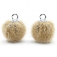 Pompom Anhänger mit Öse faux fur 12mm Taupe brown-silver