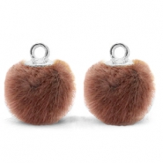 Pompom Anhänger mit Öse faux fur 12mm Red brown-silver