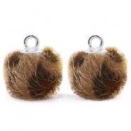 Pompom Anhänger mit Öse faux fur Leopard 12mm Chocolate brown-silver