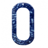 Resin Anhänger lang oval 56x30mm Dark blue
