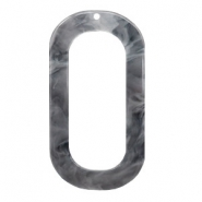 Resin Anhänger lang oval 56x30mm Grey