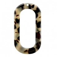 Resin Anhänger lang oval 56x30mm Creme-black