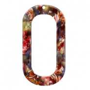 Resin Anhänger lang oval 56x30mm Mixed red-yellow