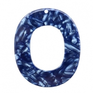 Resin Anhänger oval 48x40mm Dark blue