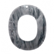 Resin Anhänger oval 48x40mm Grey