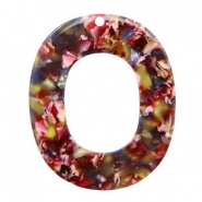 Resin Anhänger oval 48x40mm Mixed red-yellow