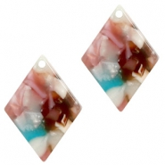 Resin Anhänger Raute 20x14mm Mixed pink-blue