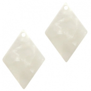 Resin Anhänger Raute 20x14mm Off white