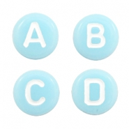 Buchstaben Perlen aus Acryl Mix Light aqua blue-white