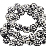Strass Perlen 10mm Black-silver