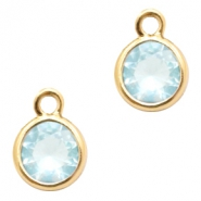 Anhänger Kristallglas rund 6mm Light blue crystal-gold