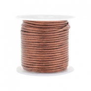 DQ Leder rund 1 mm Rose brown metallic
