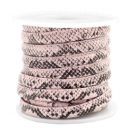 Gestepptes Leder (Imitat) 6x4mm Snake Light pink