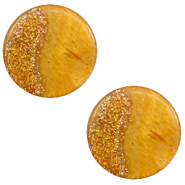 12 mm flach Cabochon Polaris Elements Stardust Caramel yellow