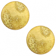 12 mm flach Cabochon Polaris Elements Stardust Gold-mineral yellow