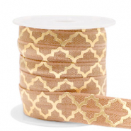 Elastisches Band Moroccan pattern Camel brown-gold