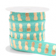 Elastisches Band Ananas Turquoise-gold