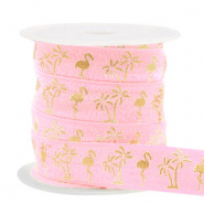 Elastisches Band Flamingo/Palmtree Vintage pink-gold