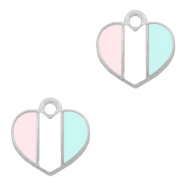 Basic quality Metall Anhänger Herz Silber-Light blue white pink