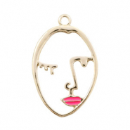 Basic quality Metall Anhänger lined Face pink Lips Gold