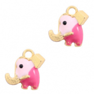 Basic quality Metall Anhänger Elefant Gold-rosa