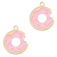 Basic quality Metall Anhänger Donut Gold-rosa