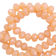 Top Glas Facett Perlen 4x3 mm rondellen Apricot rose-pearl shine coating