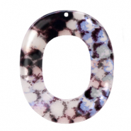 Resin Anhänger Oval 48x40mm Snake shiny Grey-dark blue