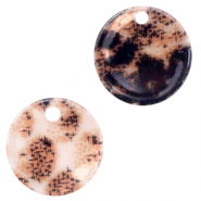 Resin Anhänger Rund 12mm Snake shiny Rust brown
