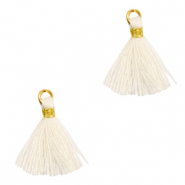 Perlen Quaste 1.5cm Gold-off white