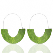 Trendy Ohrringe Resin Olive green-silver