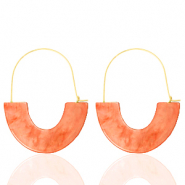 Trendy Ohrringe Resin Living coral red-gold