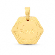 "Stainless Steel - Rostfreiem Stahl Anhänger Hexagon ""love"" Mix&Match Gold"