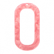 Resin Anhänger lang oval 56x30mm Living coral pink