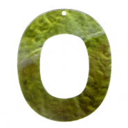 Resin Anhänger Oval 48x40mm Olive green
