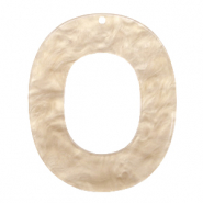 Resin Anhänger Oval 48x40mm Light semolina beige