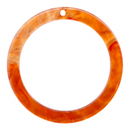 Resin Anhänger rund 35mm  Flame orange