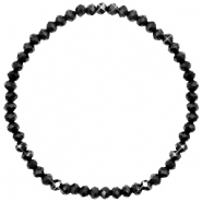 Top Facett Glas Armbänder 4x3mm Jet black-pearl shine coating