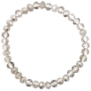 Top Facett Glas Armbänder 6x4mm Greige crystal-pearl shine coating