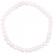 Top Facett Glas Armbänder 6x4mm Light lavender pink opal-pearl shine coating
