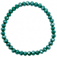 Top Facett Glas Armbänder 6x4mm Petrol green-pearl shine coating
