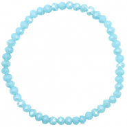 Top Facett Glas Armbänder 4x3mm Light blue-pearl shine coating