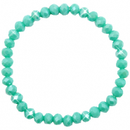 Top Facett Glas Armbänder 6x4mm Turquoise green-pearl shine coating