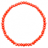 Top Facett Glas Armbänder 4x3mm Coral red-pearl shine coating